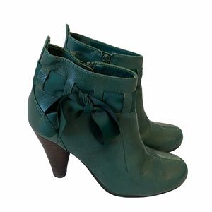 Forest Green Heeled Shirt Booties Ribbon Detail 6